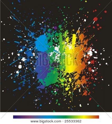 Illustration of color paint splashes on black background