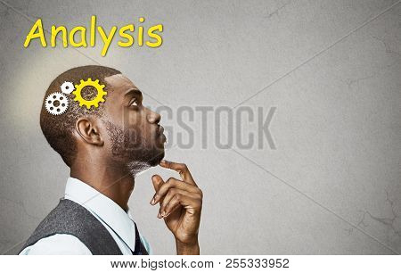 Side View Portrait Young Puzzled Business Man Thinking Deciding  Finger On Chin Looking Up Gear Mech