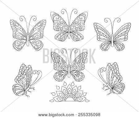 Coloring Page With Set Of Six Butterflies For Adult Antistress Coloring Book, Album, Wall Mural, Art
