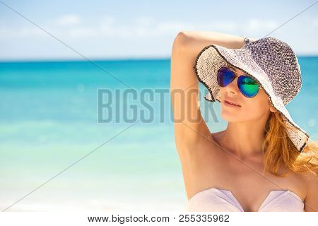 Closeup Portrait Happy Young Woman On The Beach, Beautiful Female Enjoying Tropical Sunny Weather, P