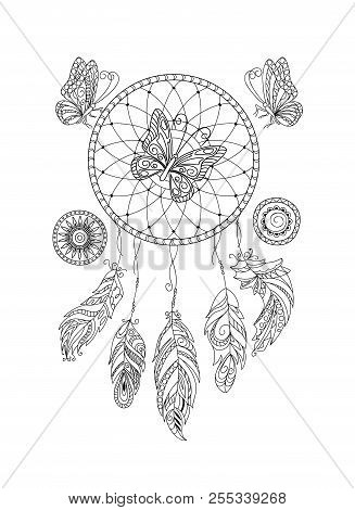Coloring Page With Dreamcatcher, Patterned Feathers And Butterflies For Adult Antistress Coloring Bo