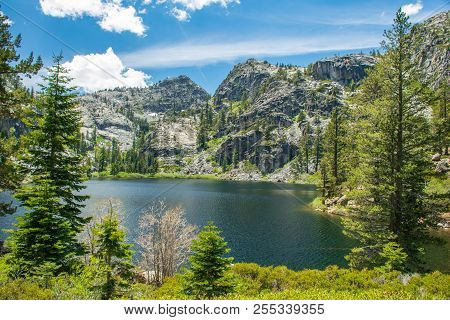 Eagle Lake Glistening In Afternoon Sun -  Eagle Lake Is A Backcountry Lake In The Sierra Nevada Moun