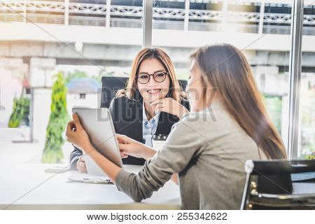 Business Woman People Presenting Business Planning And Finance Report From Tablet For Ceo In Office