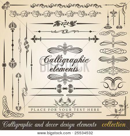 Calligraphic and decor design elements. Vector design corners, bars, swirls, frames and borders. Hand written retro feather symbols.