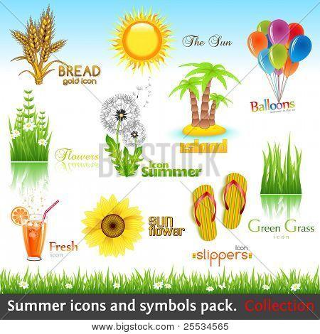 Summer icon and symbol pack. Vector collection