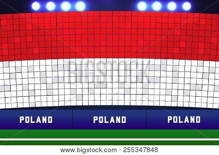 Poland flag card stunts. Poland soccer or football stadium background. vector poster