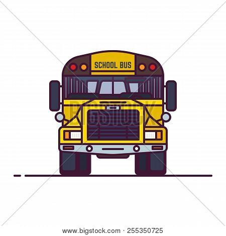 Front View Of Yellow School Bus. Retro Transport Old Style Vehicle. Line Style Vector Illustration.