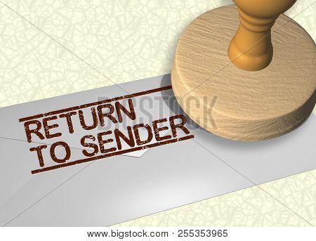 3d Illustration Of Return To Sender Stamp Title On A Letter Envelope