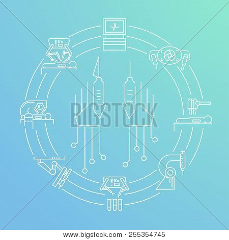 Robotic Surgery Circle Banner In Linear Style On Gradient Background. Robotic Assisted Surgery Futur