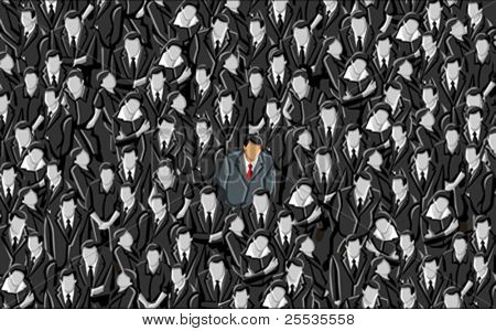 Man standing out from a crowd