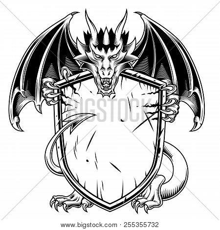 Fantasy Dragon With Warrior Shield. Vector Illustration