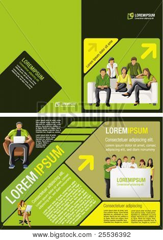 Yellow, green and black template for advertising brochure with students