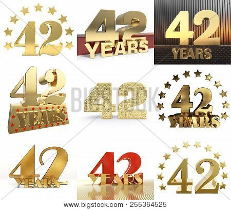 Set Of Number Forty Two Year (42 Year) Celebration Design. Anniversary Golden Number Template Elemen