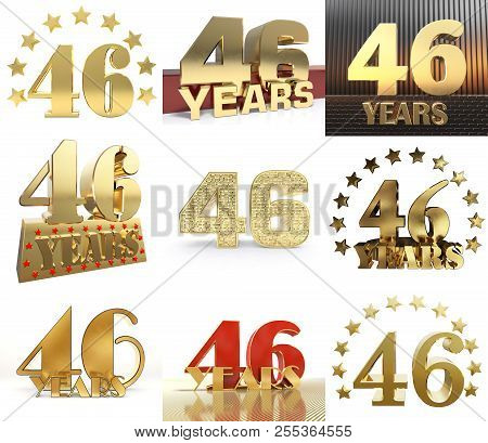 Set Of Number Forty Six Year (46 Year) Celebration Design. Anniversary Golden Number Template Elemen