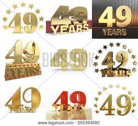 Set Of Number Forty Nine Year (49 Year) Celebration Design. Anniversary Golden Number Template Eleme