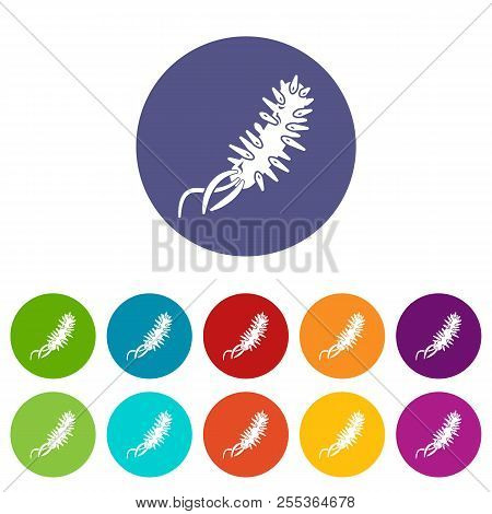 E Coli Bacteria Icons Color Set Vector For Any Web Design On White Background
