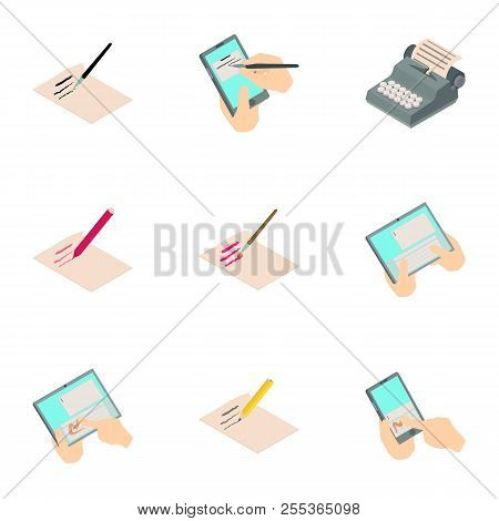 Write A Book Icons Set. Isometric Set Of 9 Write A Book Vector Icons For Web Isolated On White Backg