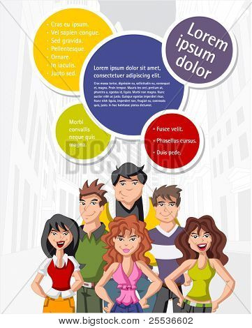 Colorful template for advertising brochure with teenage people on the city