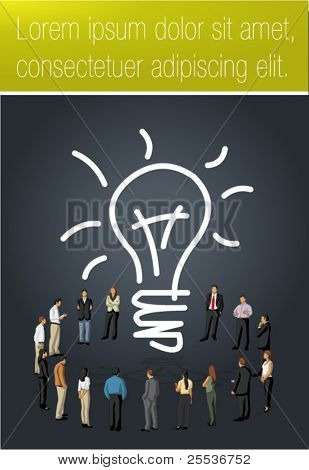 Yellow and black template for advertising brochure with business people having a idea
