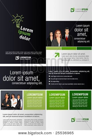 Green and black template for advertising brochure with business people