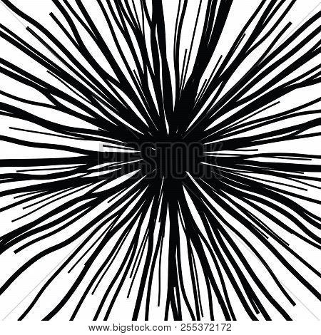 Linear Hand Drawing Curved Light Rays, Sunburst And Rays Of Sun, Light Rays Sunburst On White Backgr