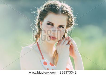 Beauty Concept. Beauty Girl Braid Hair. Beauty Model With Makeup And Long Hairstyle. Feel Pretty, Fe