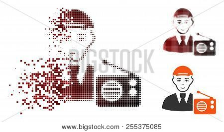 Radio Listener Icon With Face In Sparkle, Pixelated Halftone And Undamaged Entire Variants. Particle