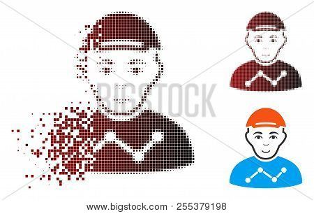 User stats icon with face in sparkle, dotted halftone and undamaged entire variants. Pixels are organized into vector sparkle user stats form. poster