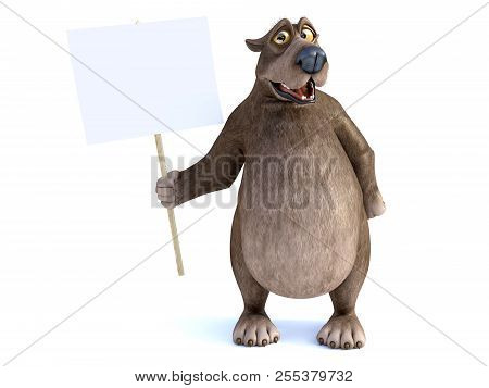 3d Rendering Of A Charming Smiling Cartoon Bear Holding A Blank Sign In His Hand. White Background.