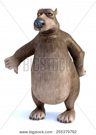 3d Rendering Of A Charming Grumpy Cartoon Bear Doing A Thumbs Down. White Background.