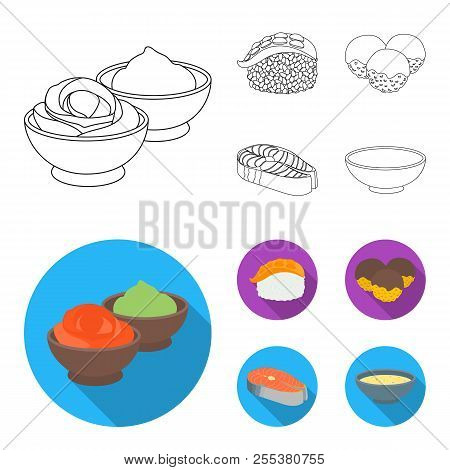 Wasabi Sauce And Ginger, Salmon Steak, Octopus. Sushi Set Collection Icons In Outline, Flat Style Ve