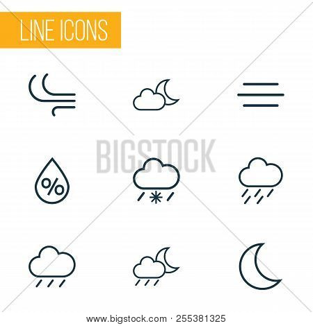 Air Icons Line Style Set With Wind, Breeze, Rainfall And Other Rainstorm Elements. Isolated  Illustr