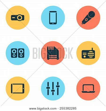 Gadget Icons Set With Radio, Mic, Floppy Disk And Other Fm Elements. Isolated  Illustration Gadget I