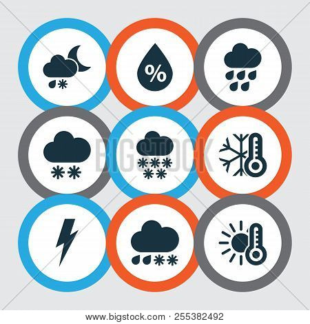Weather Icons Set With Winter, Thunderstorm, Cold And Other Voltage Elements. Isolated  Illustration