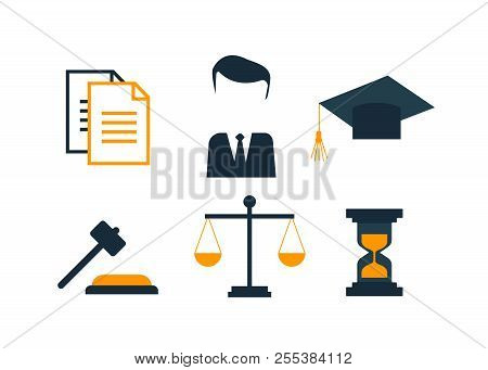 Lawyer Concept. Lawyer Icons In Flat Style. Lawyer Sign And Symbol Vector