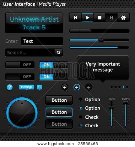 Vector user interface: media player.