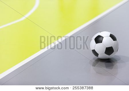 Futsal Background. Indoor Soccer Futsal Ball. Indoor Soccer Match In The Background. Futsal Sports H