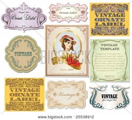 vector set vintage labels 3