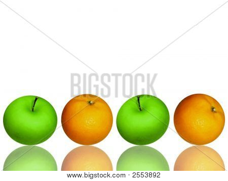 Apples And Oranges Lineup On White