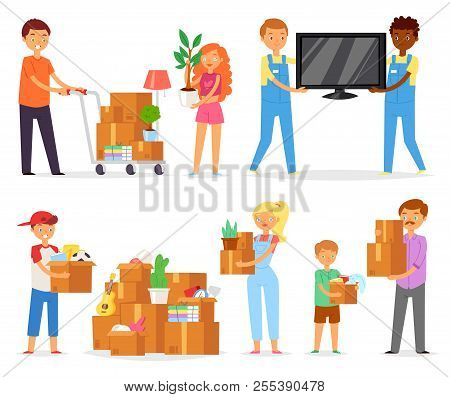 People Moving Vector Family With Kids Packing Boxes Or Packages To Move To New Apartment Illustratio