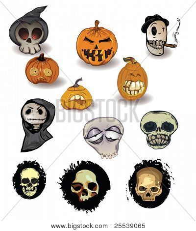 Vector set of Halloween-themed  funny hand-drawn (not traced) pumpkins and decorative  skulls