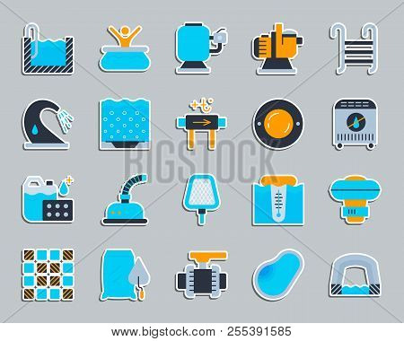 Swimming Pool Equipment Sticker Icons Set. Flat Sign Kit Of Construction. Repair Pictogram Collectio