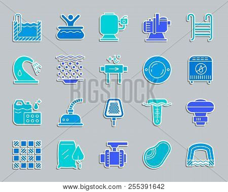 Pool Equipment Silhouette Sticker Icons Set. Sign Kit Of Construction. Repair Pictograms Includes Ti