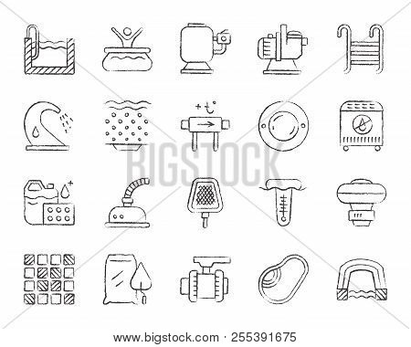 Swimming Pool Equipment Charcoal Icon Set. Grunge Outline Sign Kit Of Construction. Repair Linear Ic