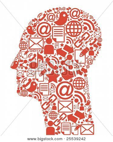 Comunicação-head.The desenvolvimento de comunicações globais. Comunicação móvel e internet ne