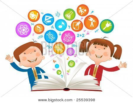book Child symbol.The School of sciences