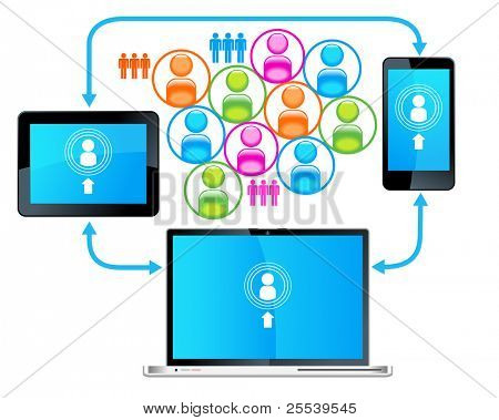 Laptop Telefon Tablet connection.communication in der globalen Computer-Netzwerken.