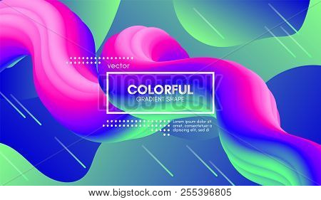 Abstract Gradient Poster With Colorful Liquid Shape. Modern Wave Flow Design. 3d Vector Illustration