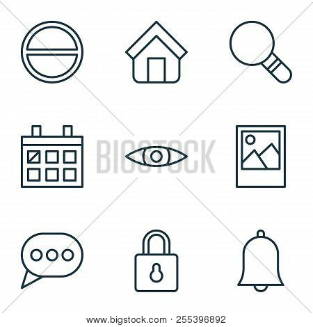 Web Icons Set With Eyes, Home, Almanac And Other Safeguard Elements. Isolated Vector Illustration We
