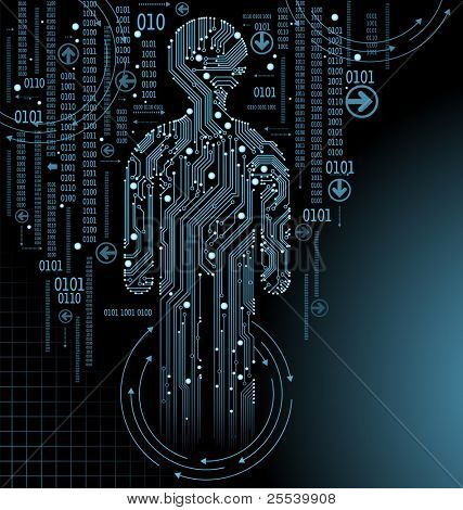 abstract  vector background with high tech circuit board